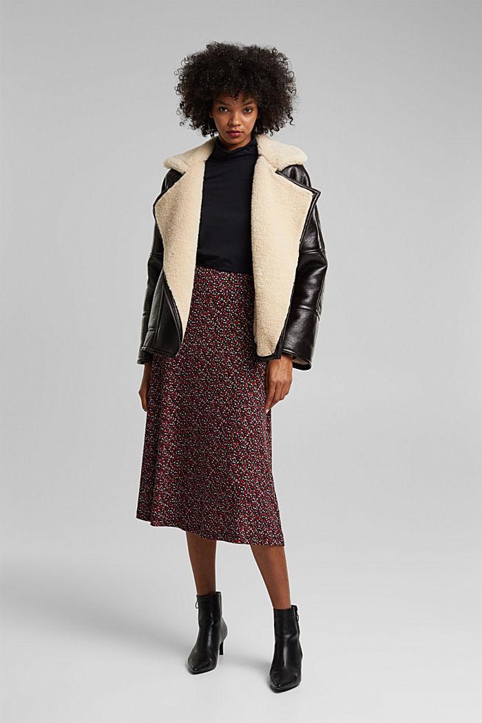Midi skirt made of LENZING™ ECOVERO™, BORDEAUX RED, detail image number 1