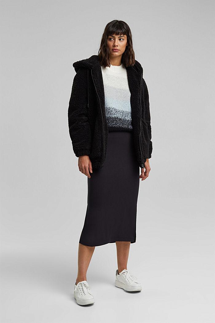 Jersey midi skirt, BLACK, detail image number 1