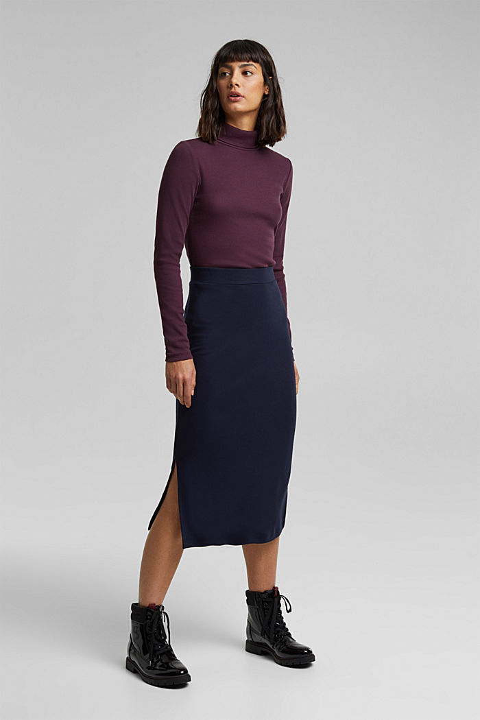 Jersey midi skirt, NAVY, overview