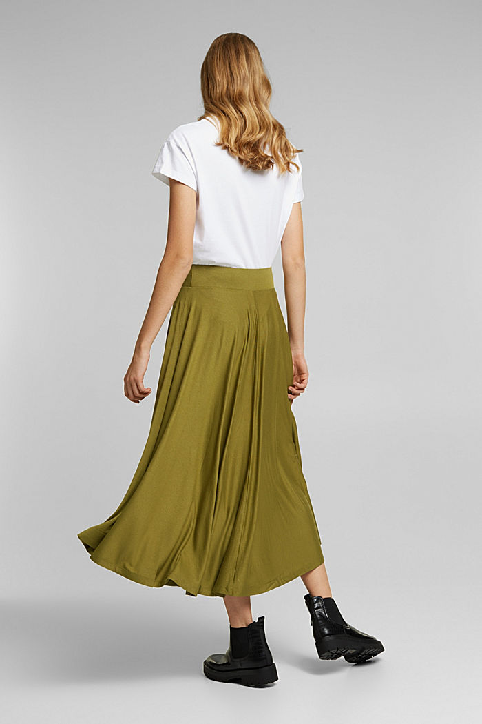 Wide jersey midi skirt, OLIVE, detail image number 3
