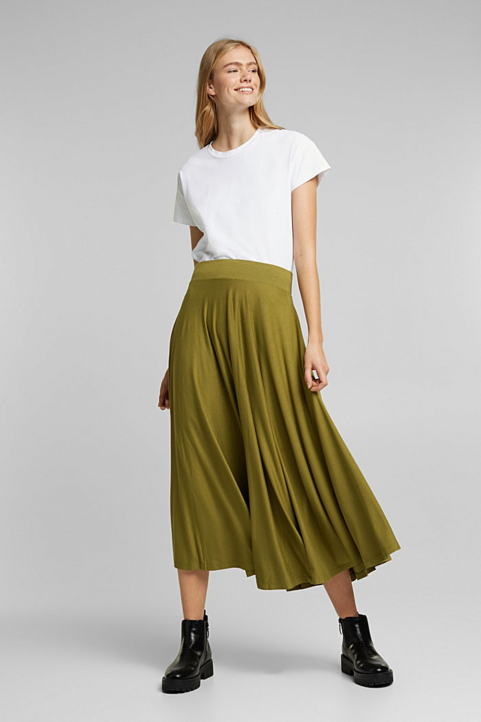 Wide jersey midi skirt, OLIVE, detail image number 5