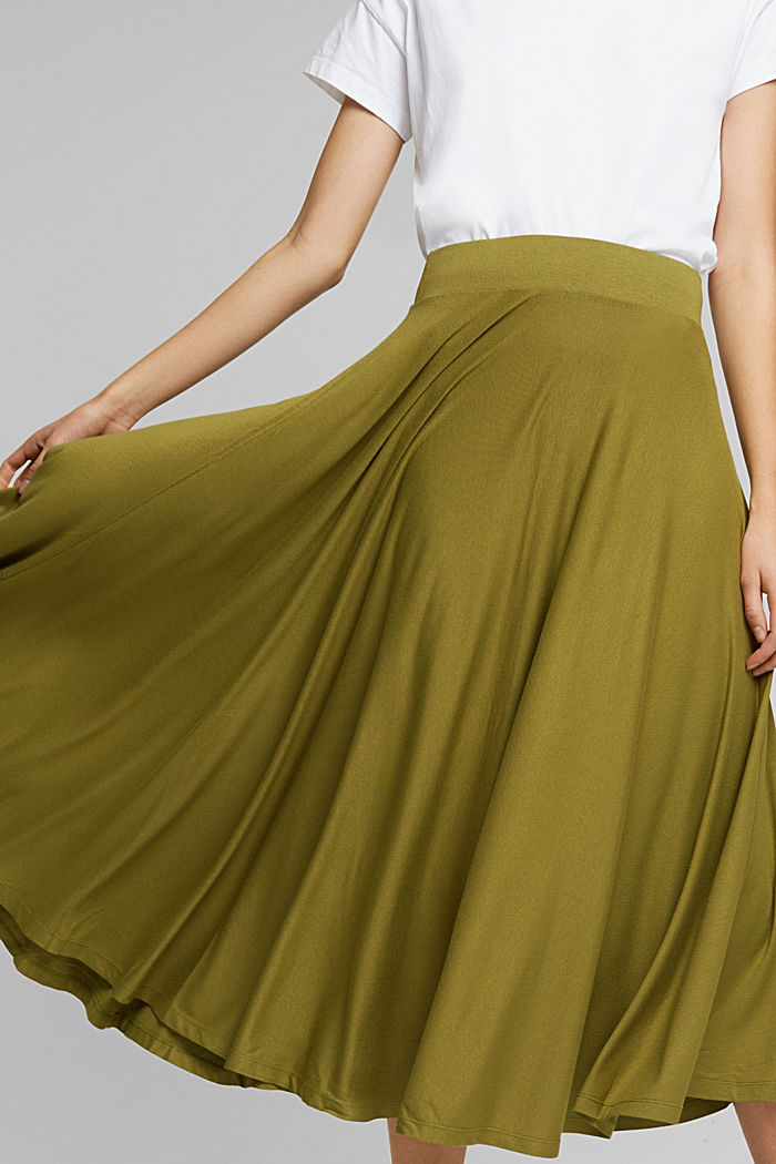 Wide jersey midi skirt, OLIVE, detail image number 2