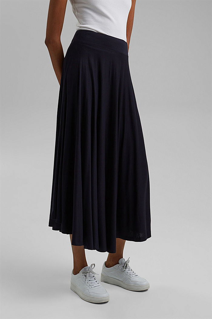 Wide jersey midi skirt, NAVY, detail image number 0