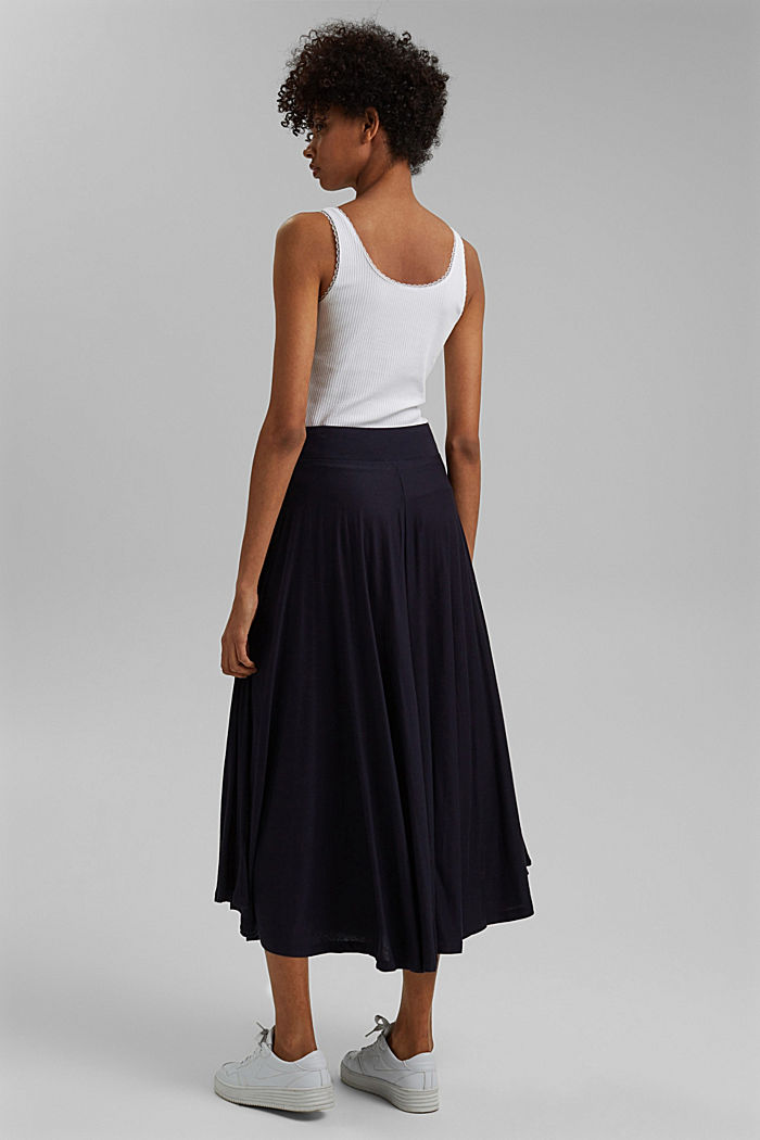 Wide jersey midi skirt, NAVY, detail image number 3