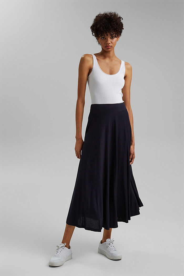 Wide jersey midi skirt, NAVY, detail image number 1