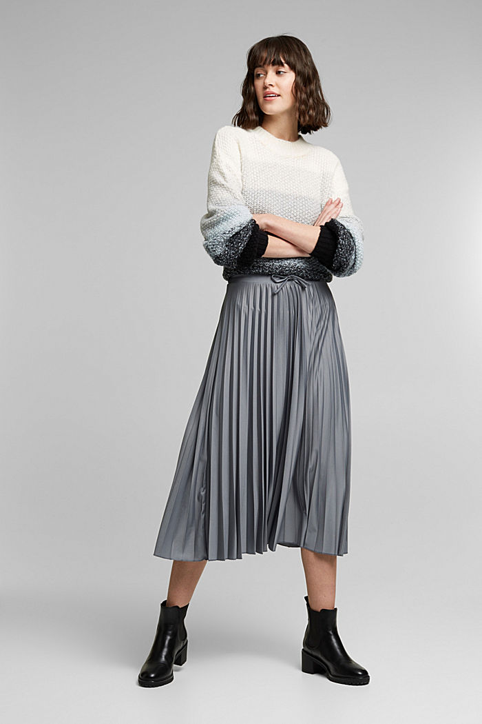 Pleated skirt with a drawstring waistband, GUNMETAL, detail image number 1