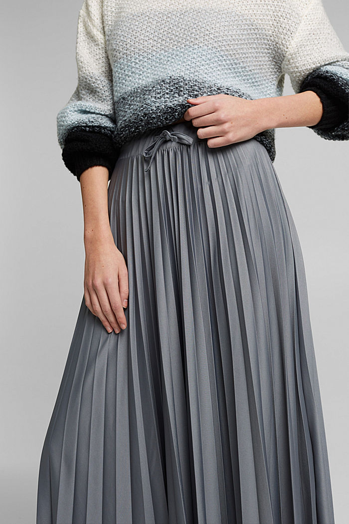 Pleated skirt with a drawstring waistband, GUNMETAL, detail image number 2