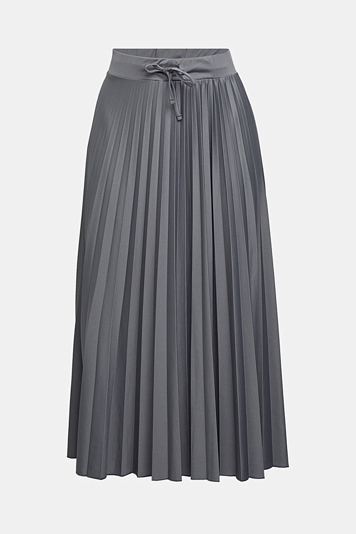 Pleated skirt with a drawstring waistband, GUNMETAL, detail image number 5
