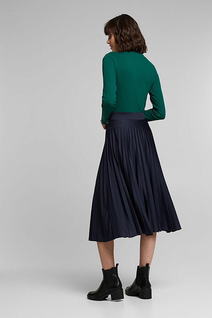Pleated skirt with a drawstring waistband, NAVY, detail image number 3