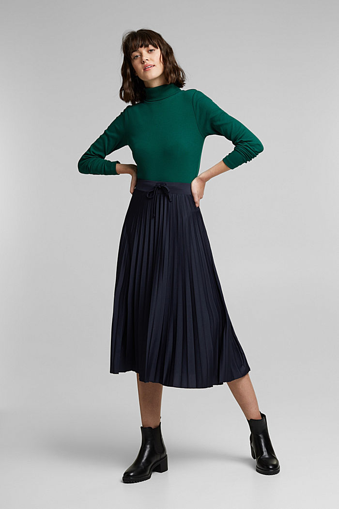 Pleated skirt with a drawstring waistband, NAVY, detail image number 1