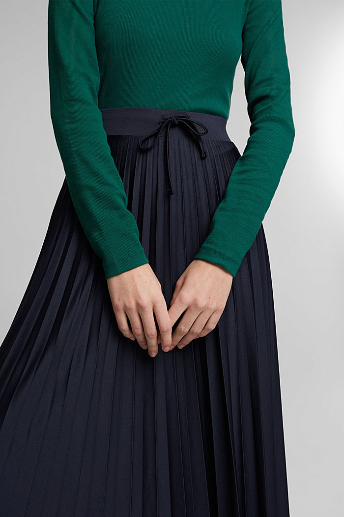 Pleated skirt with a drawstring waistband, NAVY, detail image number 2