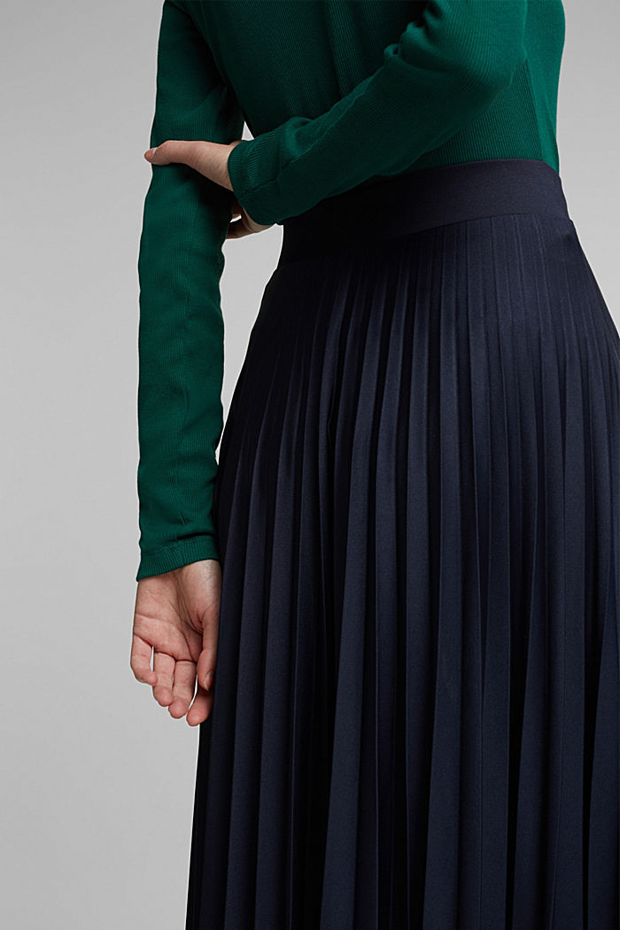 Pleated skirt with a drawstring waistband, NAVY, detail image number 5