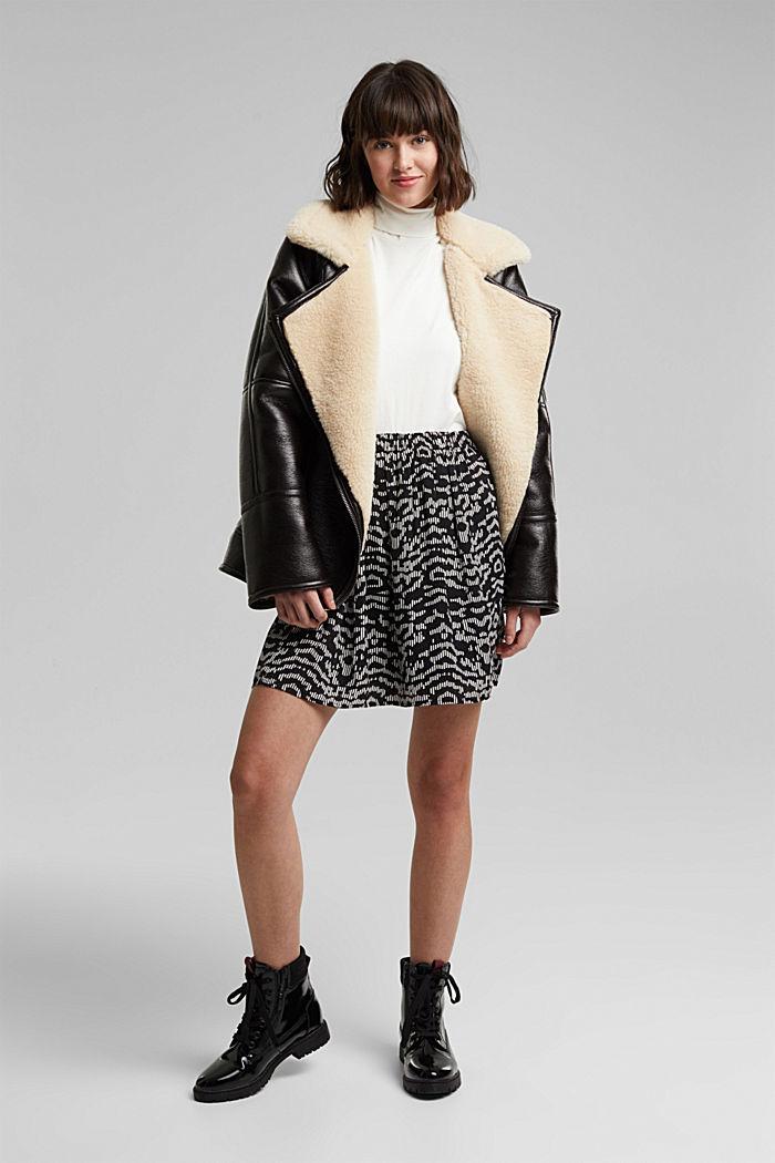 Mini skirt with geometric print, BLACK, detail image number 1