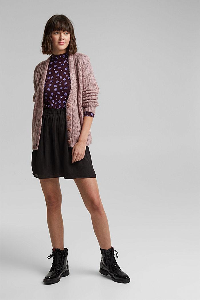 Mini-jupe à ceinture élastique, BLACK, detail image number 1
