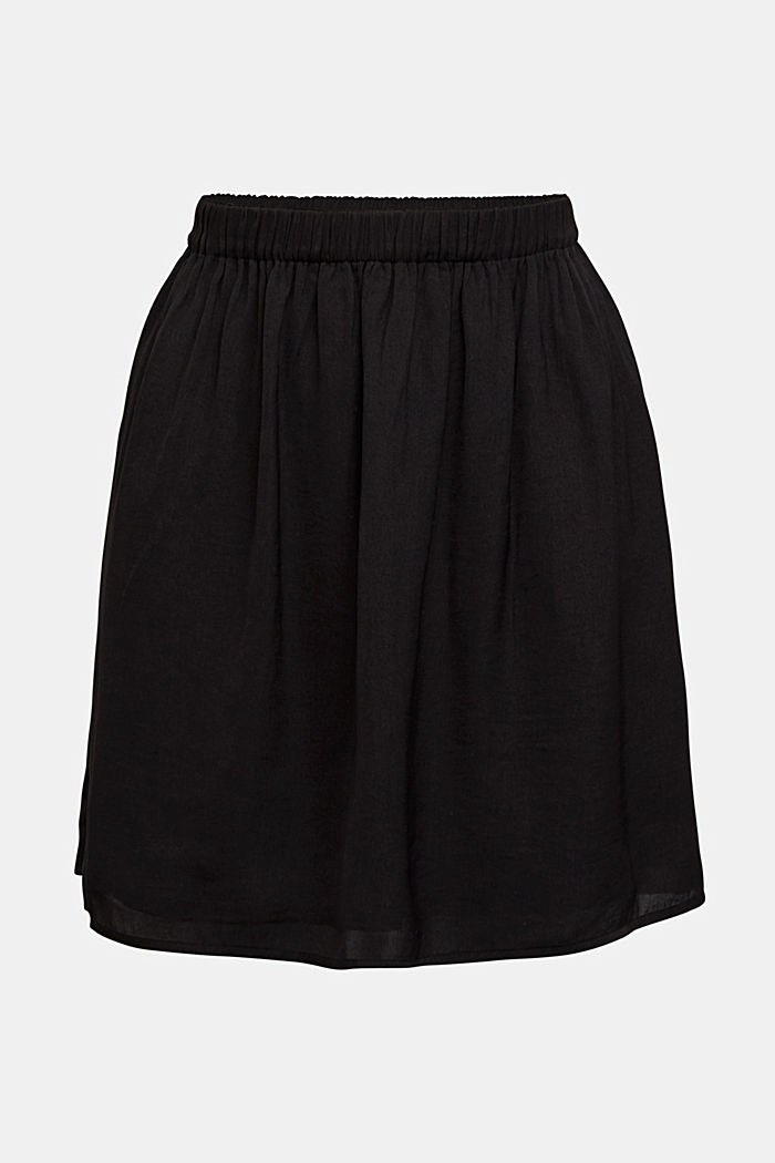 Mini skirt with elasticated waistband, BLACK, detail image number 5