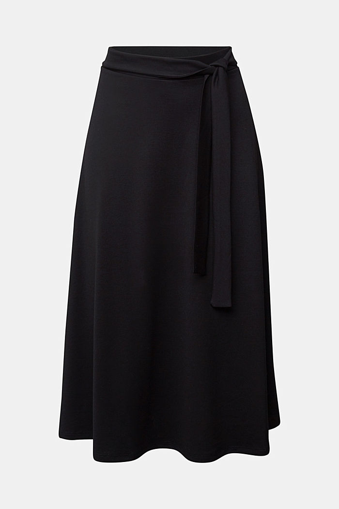 Jersey midi skirt, BLACK, overview