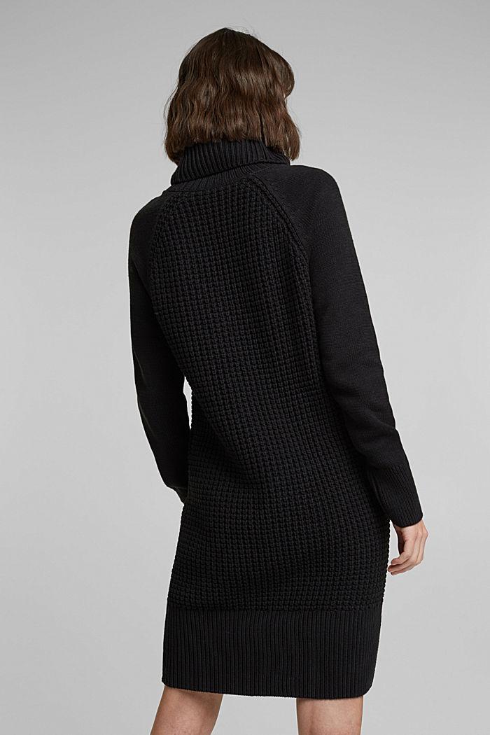 Strick-Kleid aus Baumwoll-Mix, BLACK, detail image number 2