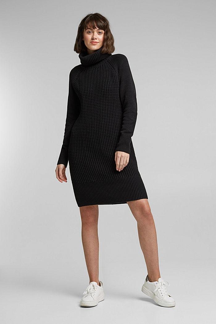 Strick-Kleid aus Baumwoll-Mix, BLACK, detail image number 1