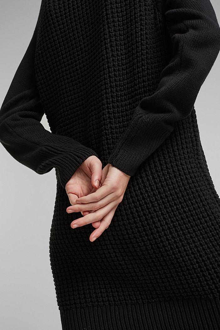 Strick-Kleid aus Baumwoll-Mix, BLACK, detail image number 3