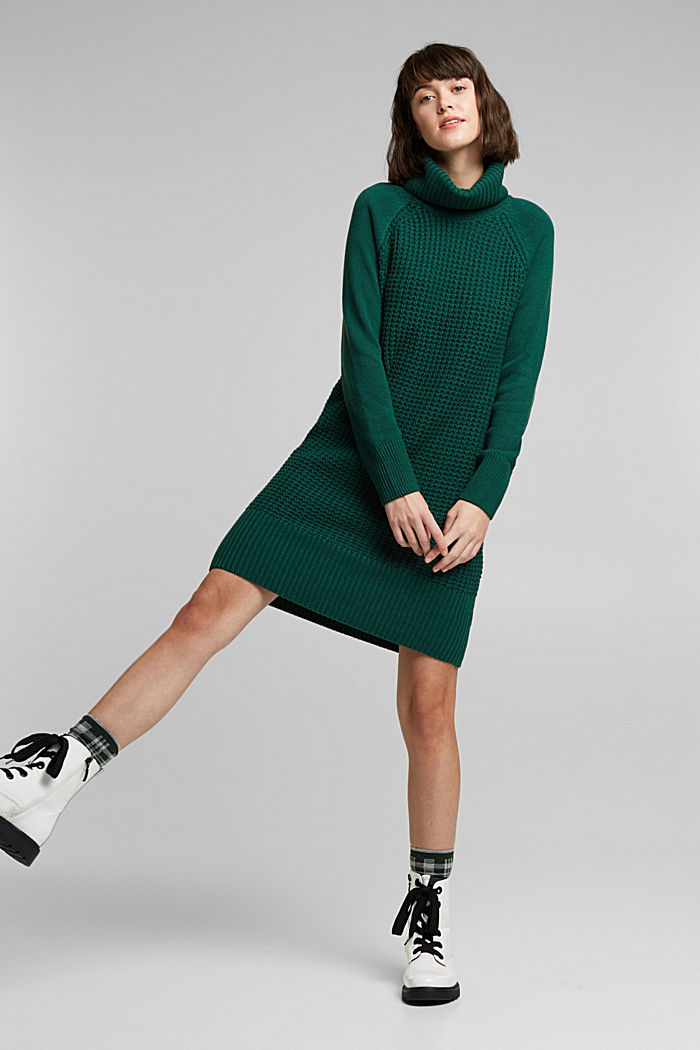 Knit dress made of blended cotton, DARK TEAL GREEN, detail image number 1