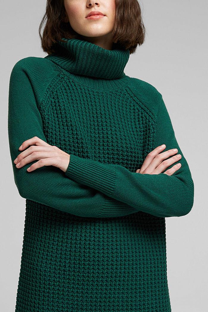 Knit dress made of blended cotton, DARK TEAL GREEN, detail image number 3