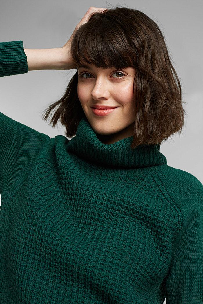 Knit dress made of blended cotton, DARK TEAL GREEN, detail image number 5