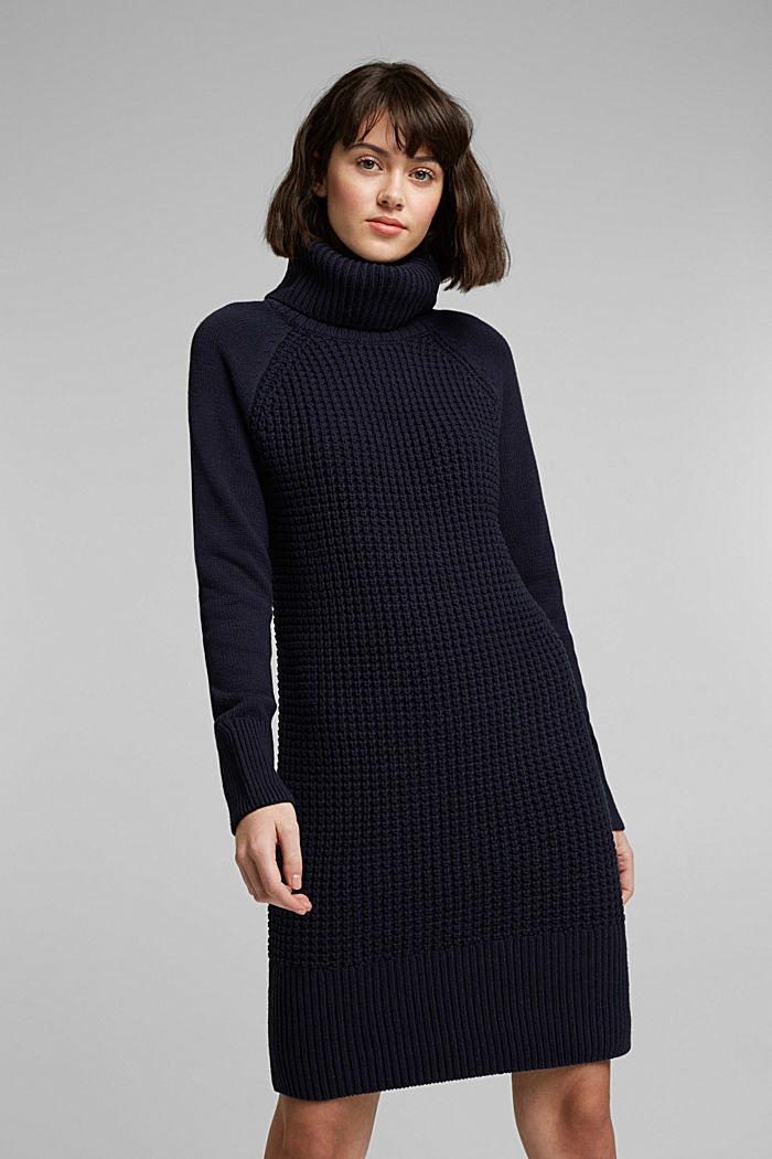 Knit dress made of blended cotton, NAVY, detail image number 0