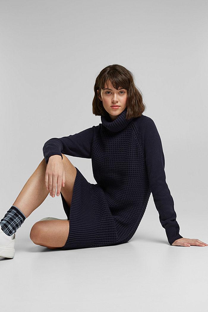 Knit dress made of blended cotton, NAVY, detail image number 5