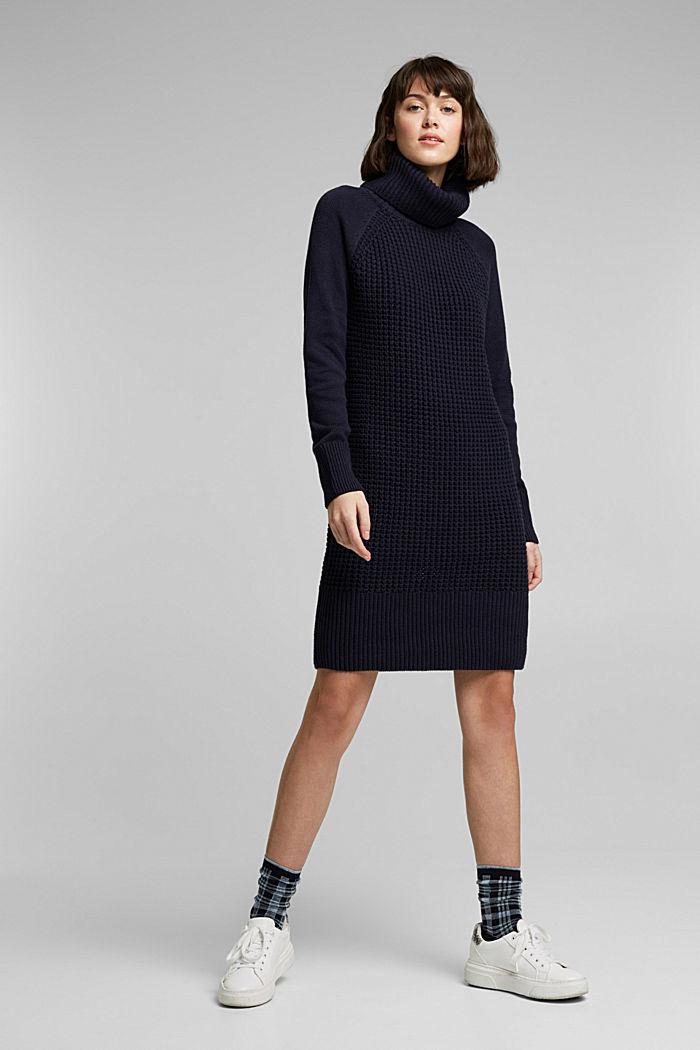 Knit dress made of blended cotton, NAVY, detail image number 1