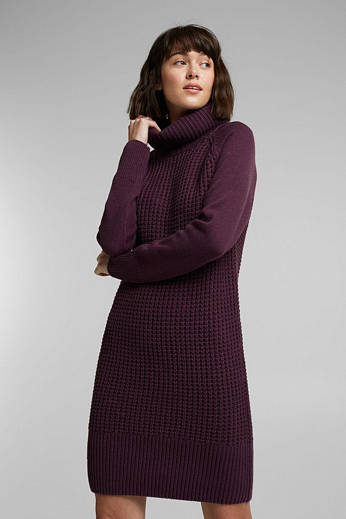 Knit dress made of blended cotton, AUBERGINE, detail image number 0