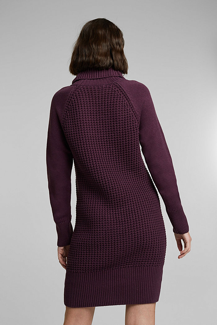 Knit dress made of blended cotton, AUBERGINE, detail image number 2