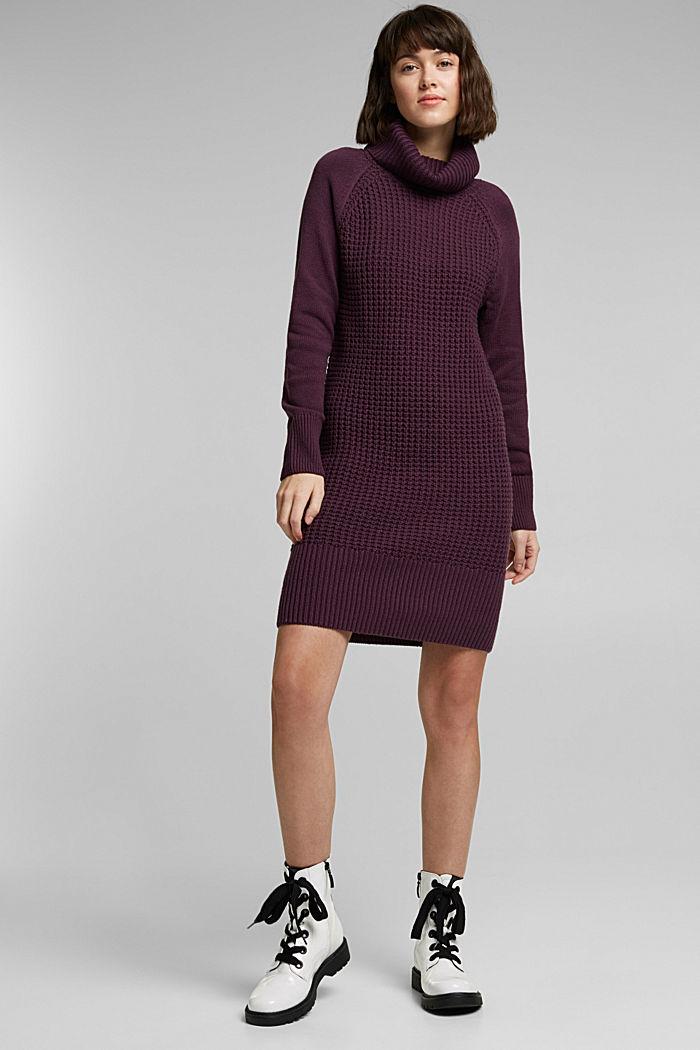 Knit dress made of blended cotton, AUBERGINE, detail image number 1