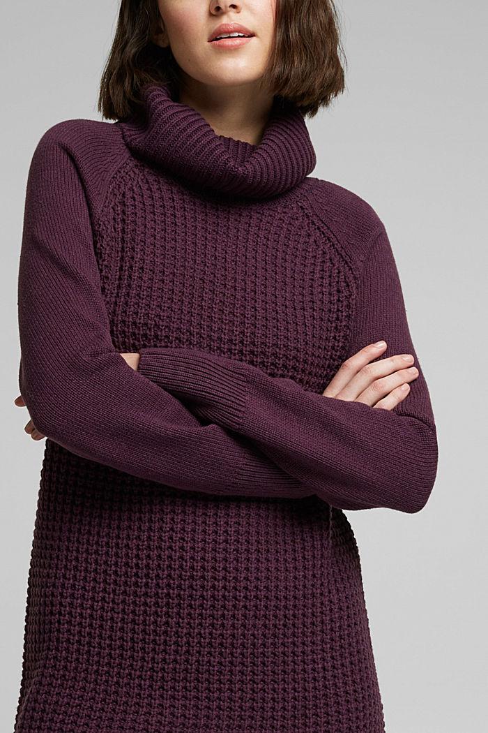 Knit dress made of blended cotton, AUBERGINE, detail image number 3