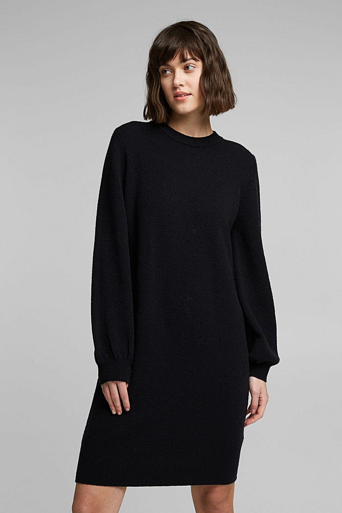 Knitted dress with cotton, BLACK, detail image number 0