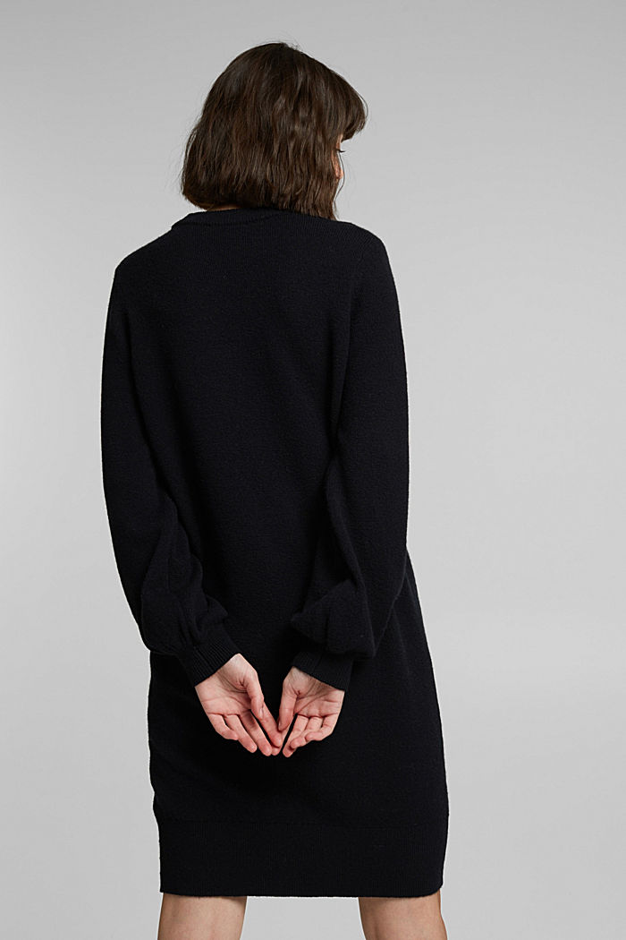 Knitted dress with cotton, BLACK, detail image number 2