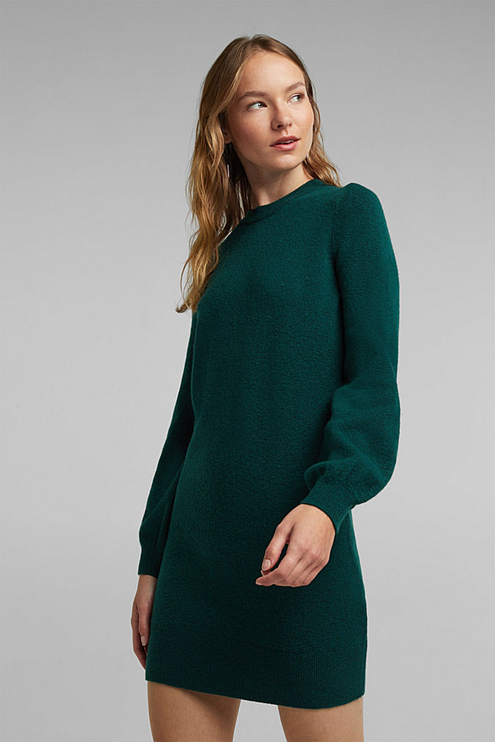 Knitted dress with cotton, DARK TEAL GREEN, detail image number 0