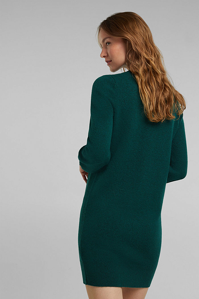 Knitted dress with cotton, DARK TEAL GREEN, detail image number 2