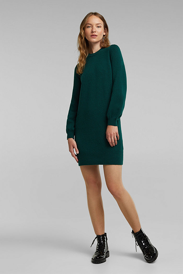 Knitted dress with cotton, DARK TEAL GREEN, detail image number 1