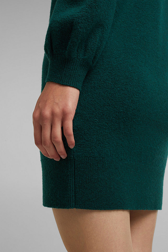 Knitted dress with cotton, DARK TEAL GREEN, detail image number 3