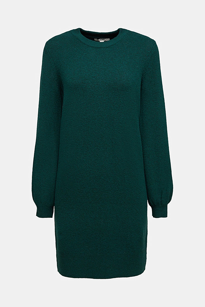 Knitted dress with cotton, DARK TEAL GREEN, detail image number 5