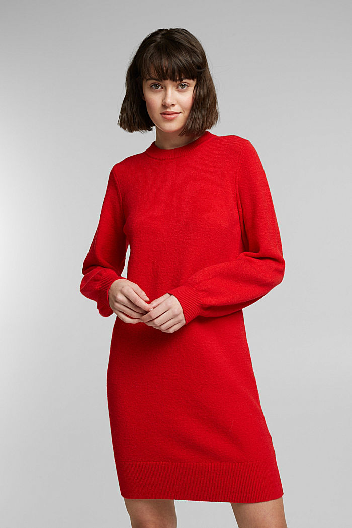 Knitted dress with cotton, RED, detail image number 0