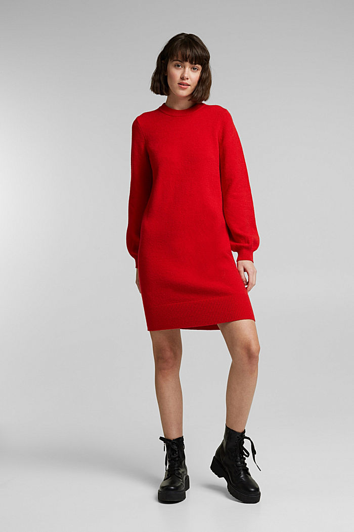 Knitted dress with cotton, RED, detail image number 1