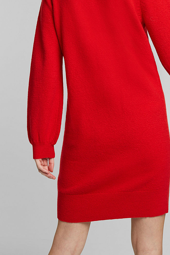 Knitted dress with cotton, RED, detail image number 3