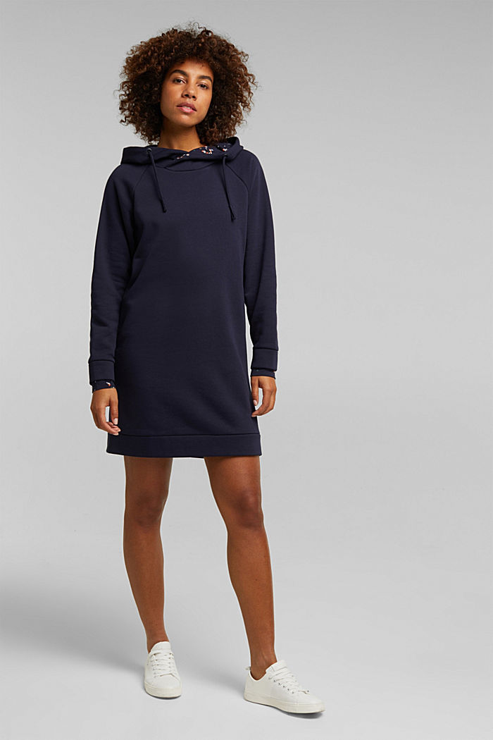 Recycled: sweatshirt dress with organic cotton, NAVY, detail image number 1