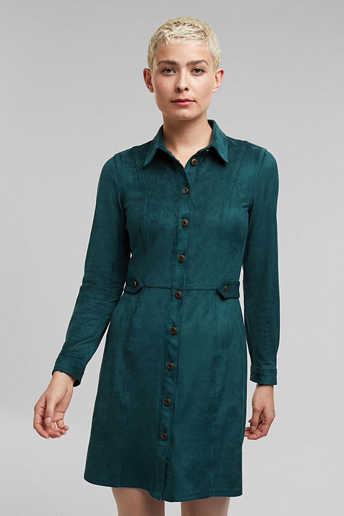 Recycled: faux leather shirt dress, DARK TEAL GREEN, detail image number 0