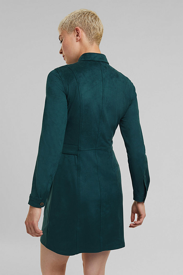 Recycled: faux leather shirt dress, DARK TEAL GREEN, detail image number 3