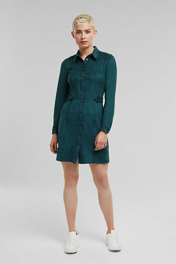 Recycled: faux leather shirt dress, DARK TEAL GREEN, detail image number 1