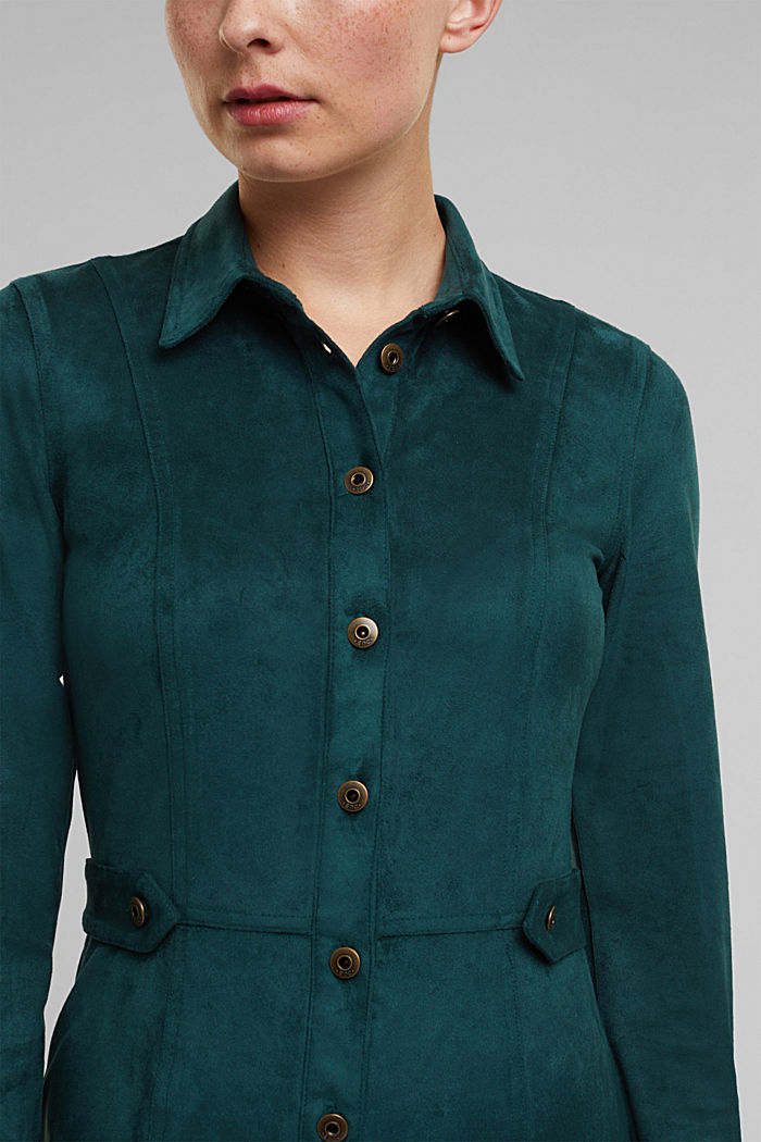 Recycled: faux leather shirt dress, DARK TEAL GREEN, detail image number 2