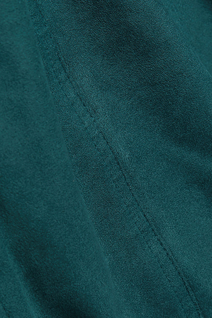 Recycled: faux leather shirt dress, DARK TEAL GREEN, detail image number 4
