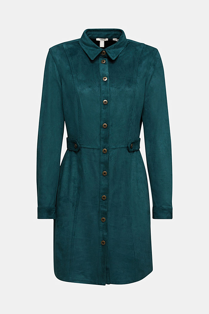 Recycled: faux leather shirt dress, DARK TEAL GREEN, detail image number 5